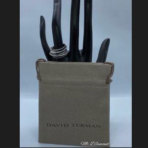 David Yurman Silver Diamond Crossover Ring size 6